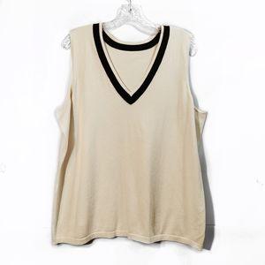 Vintage Cream Brown Knit Sweater Vest V Neck Sz L